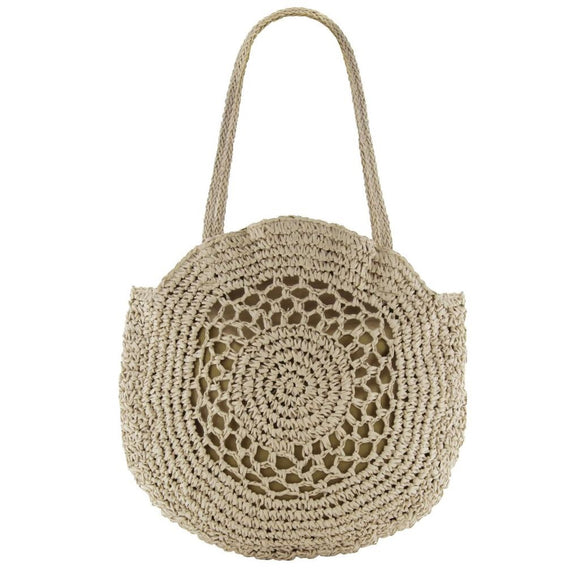 Gabee Henley woven circle tote- Natural
