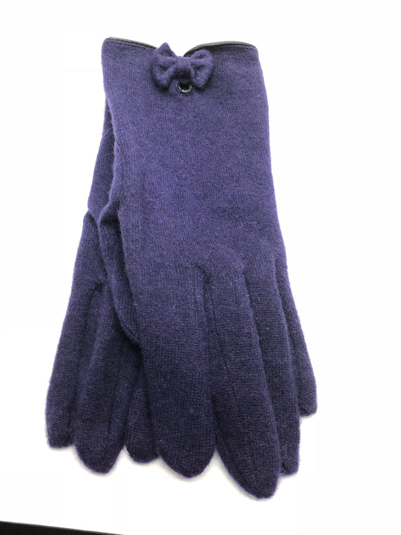 Violet Priscilla Wool Gloves with Bow - Purple