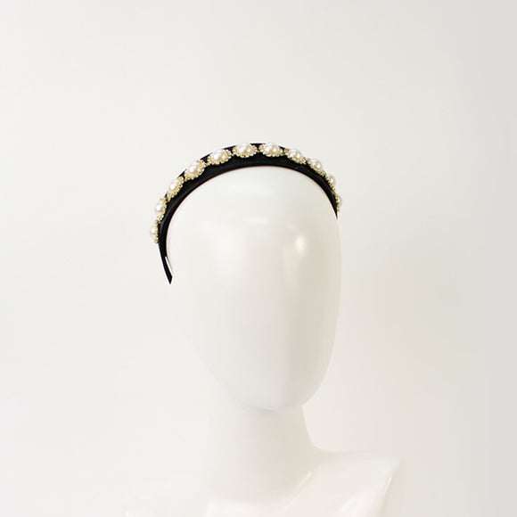 Jendi satin headband - Black with pearl