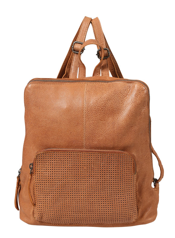 Modapelle Washed  Leather perforated Backpack - Tan