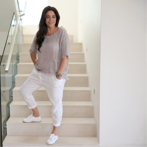 Cindy G Linen Top-Natural