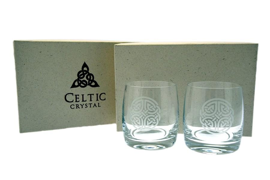 Burns Crystal | Celtic Knot Round Whisky Glass Set of Two