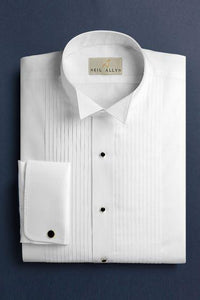 Wing Tip Pleated Shirt with French Cuffs | Regular Fit