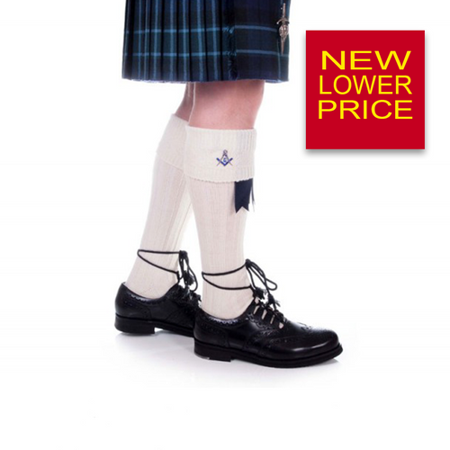 Kilt Hose | Masonic Crest Embroidered in Off White