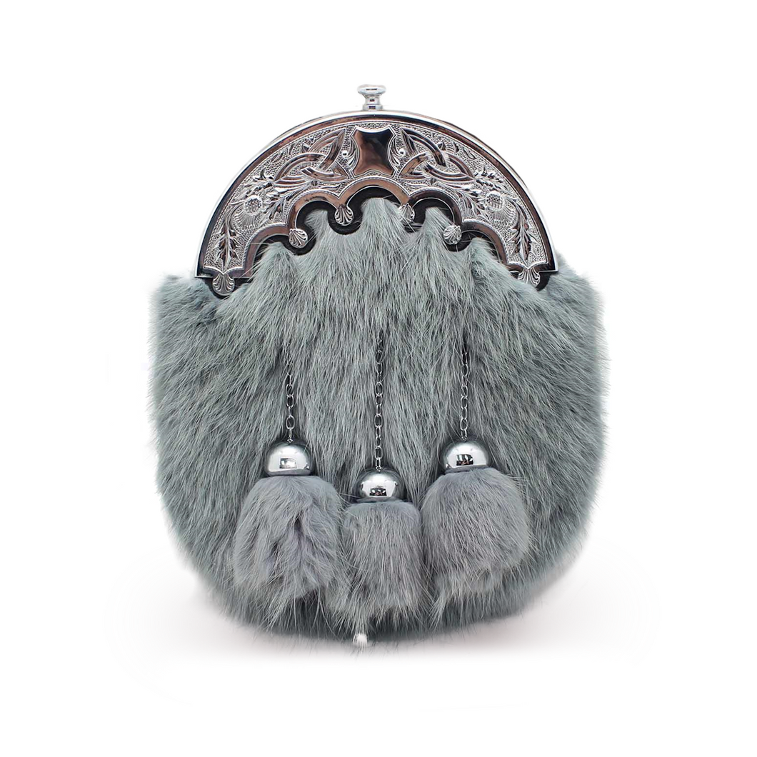 granite grey musquash fur sporran with three chain and ball tassels and ornate pewter cantle