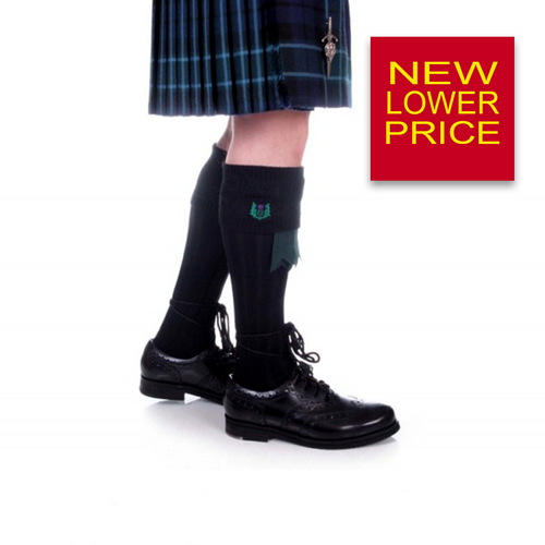 Kilt Hose | Embroidered Thistle Black