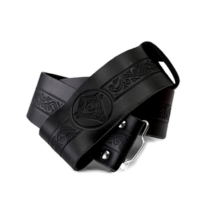 Kilt Belt | Black leather embossed with Masonic symbol