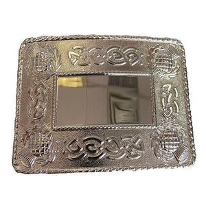 Belt Buckle | Chrome Thistle Celtic Edged