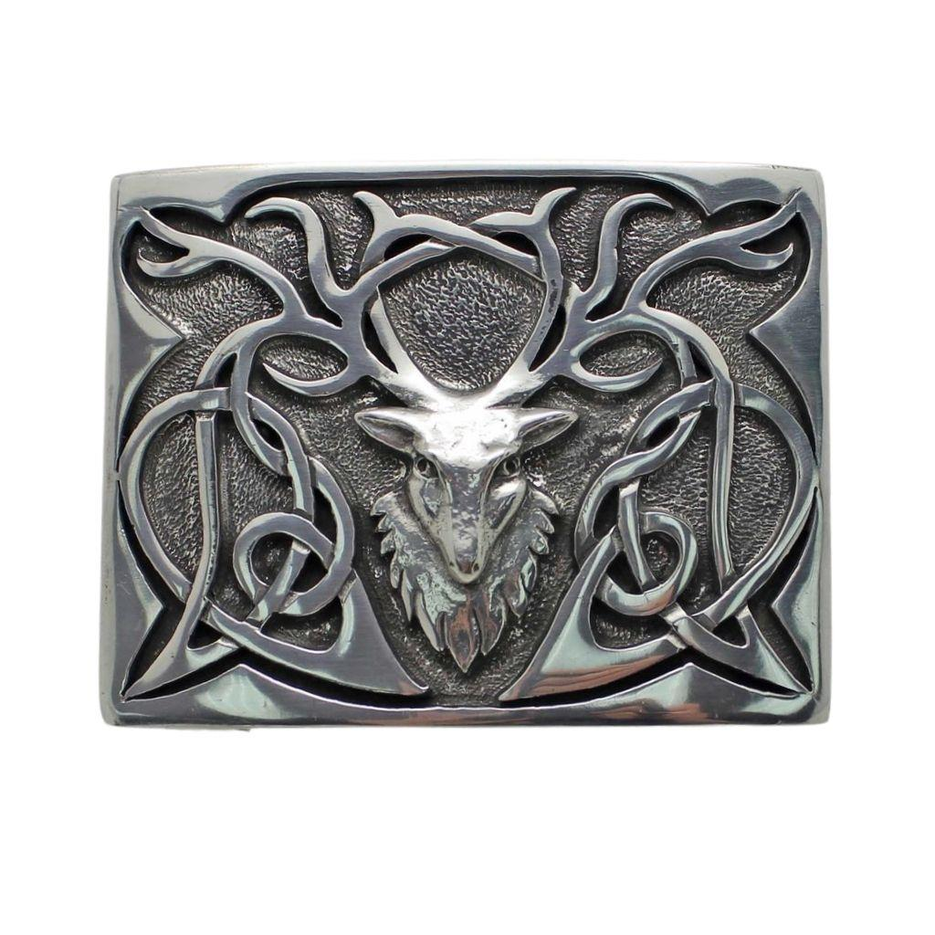 Belt Buckle | Polished Pewter Stag