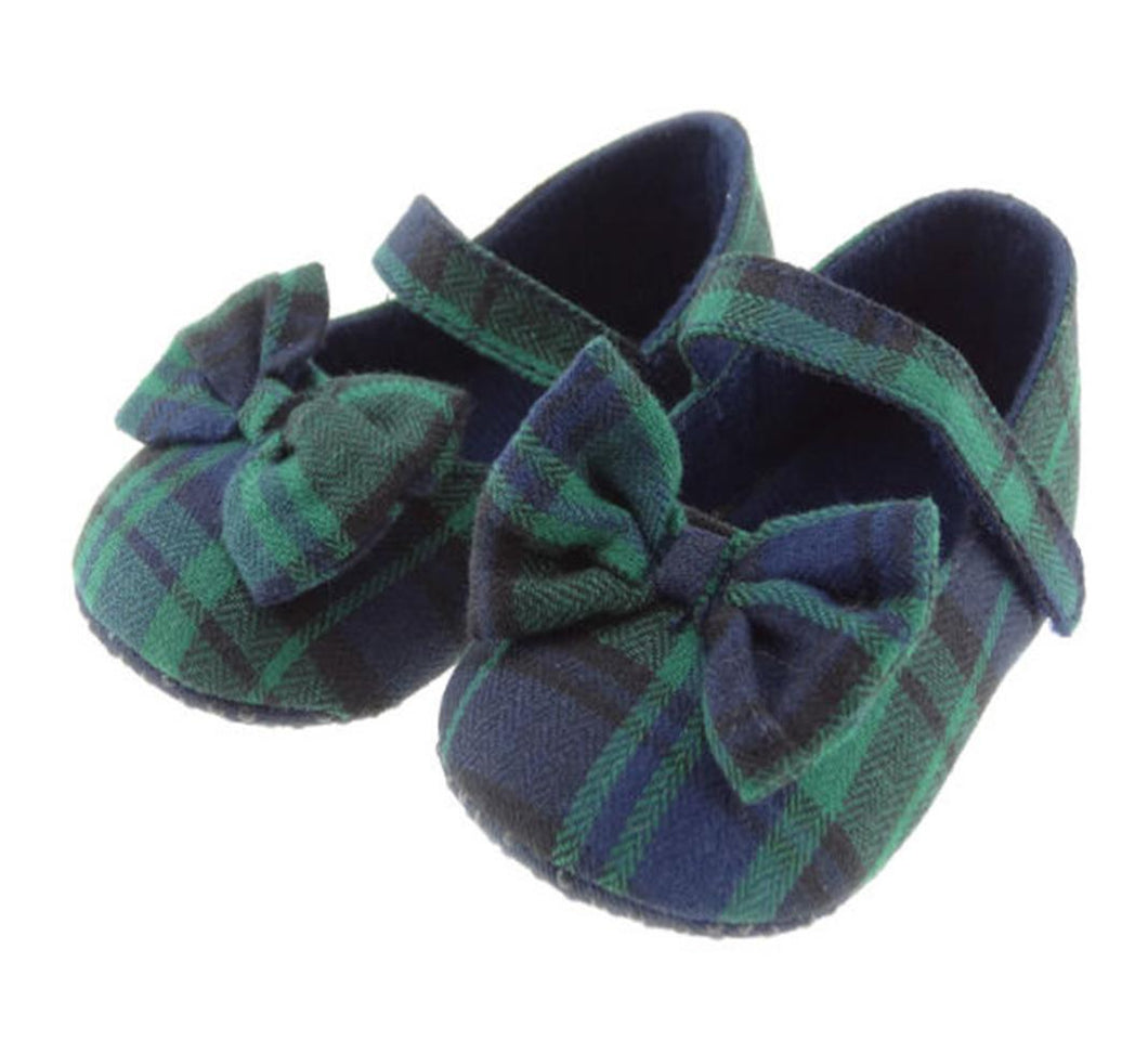 Tartan Baby Shoes with Bow