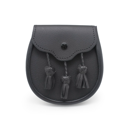 Sporting Day Sporran | Black Leather with Braided tassels
