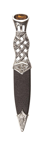 Dress Sgian Dubh | Lattice Design in Polished Pewter with Stone Top