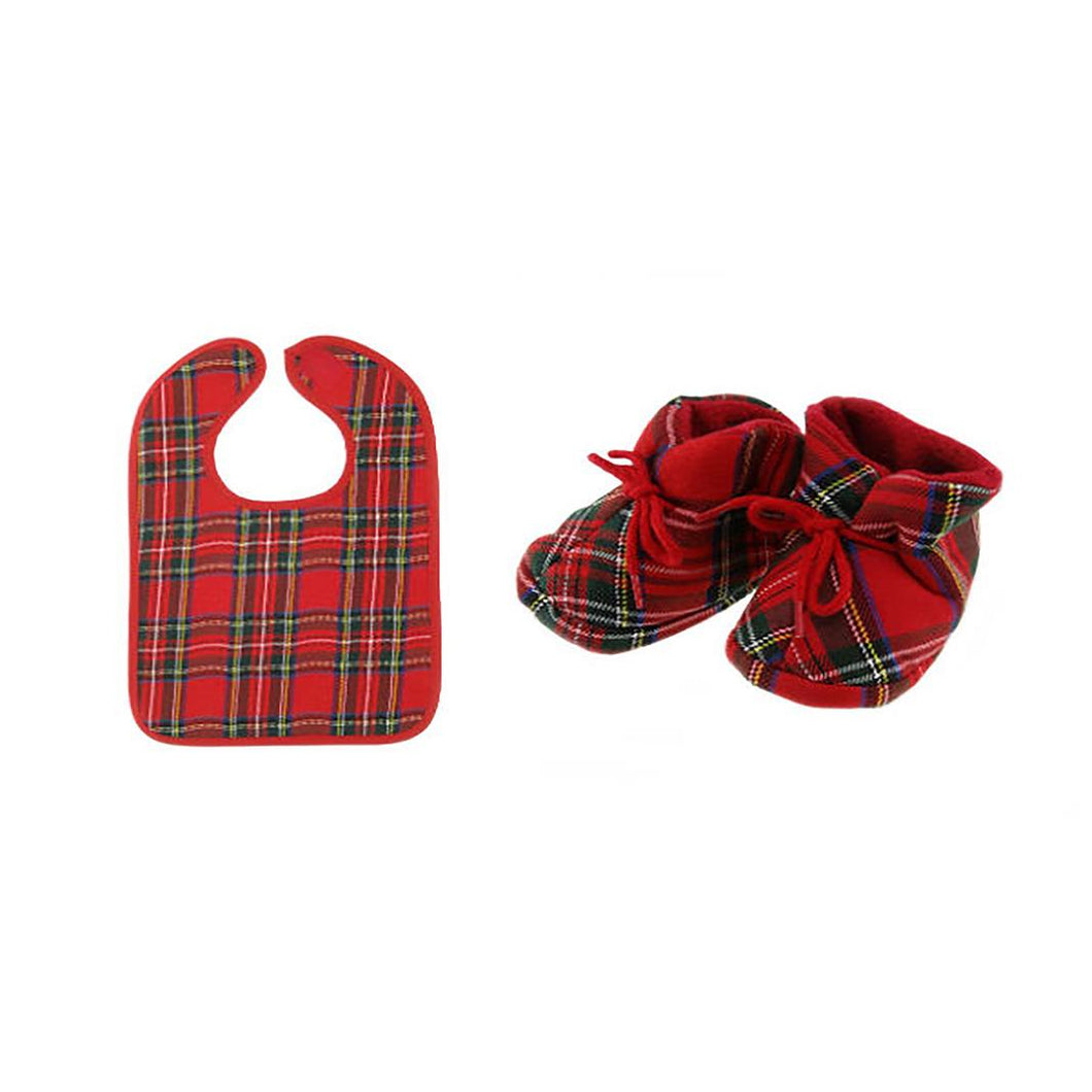 Tartan Bib and Bootie Set