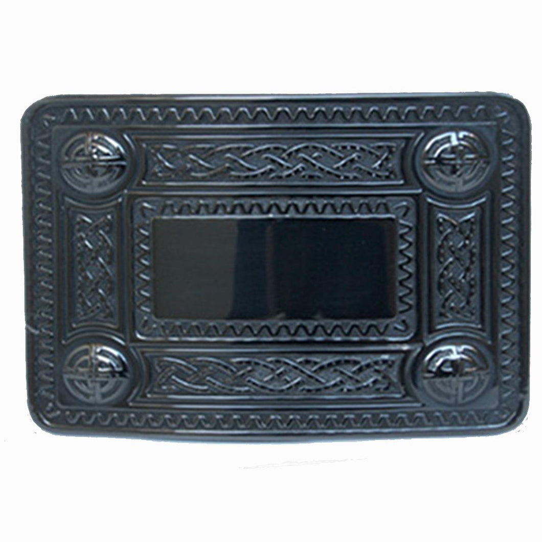 Belt Buckle | Black Celtic Knot Edge