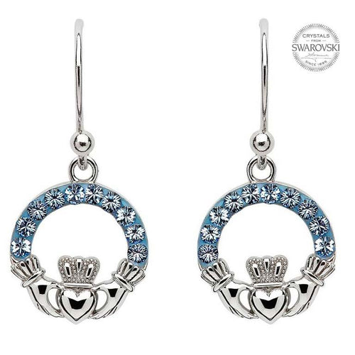 Claddagh Drop Earrings Embellished With Swarovski Crystals