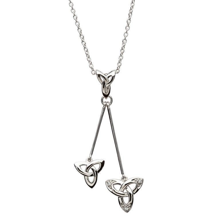 Celtic Trinity Knot Stone Set Drop Necklace