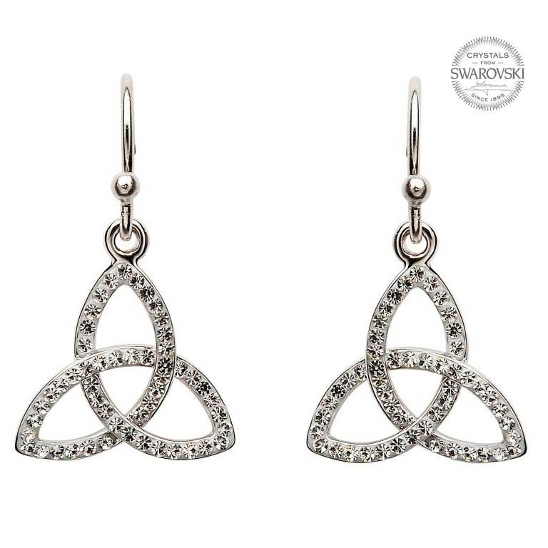 Trinity Knot Sterling Silver Earrings with Swarovski Crystals