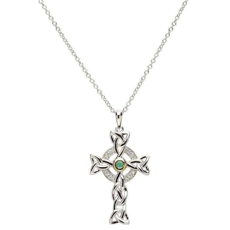 Trinity Knot Silver Cross with Diamond & Emerald
