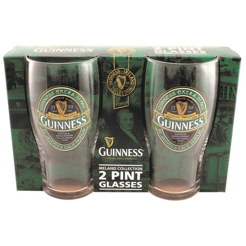 Guinness Green Ireland Pint glasses | 2 Pack
