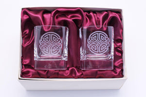 Burns Crystal | Celtic Knot Square Whisky Glasses Set of Two