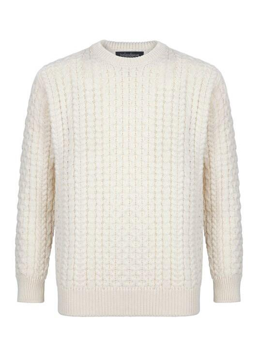 Irelands Eye | Lightweight Mariner Crewneck Aran Sweater