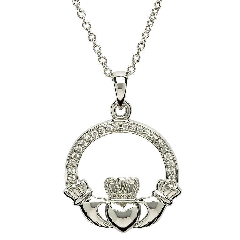 Silver Stone Set Claddagh Necklace