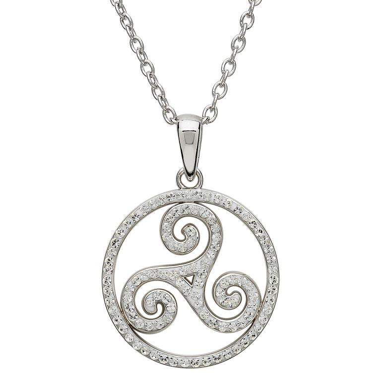 Celtic Swirl Silver Necklace with Swarovski Crystals