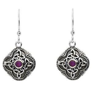 Celtic Tribal Trinity Knot Drop Silver Earrings