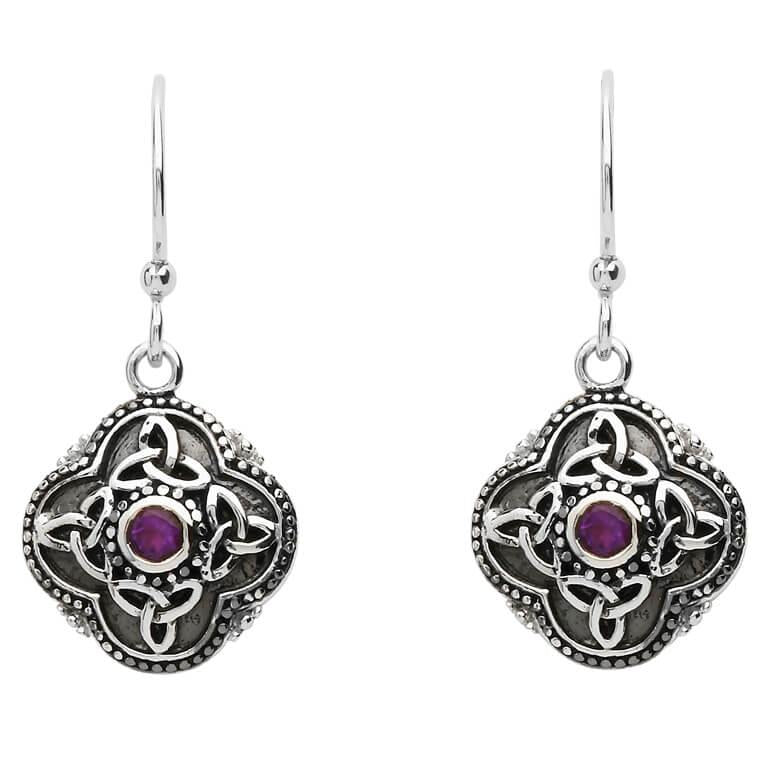 Shanore | Celtic Tribal Trinity Knot Drop Silver Earrings