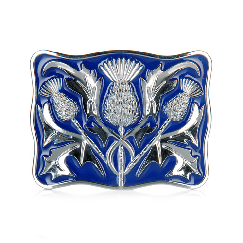 Belt Buckle | Blue & Chrome Thistle