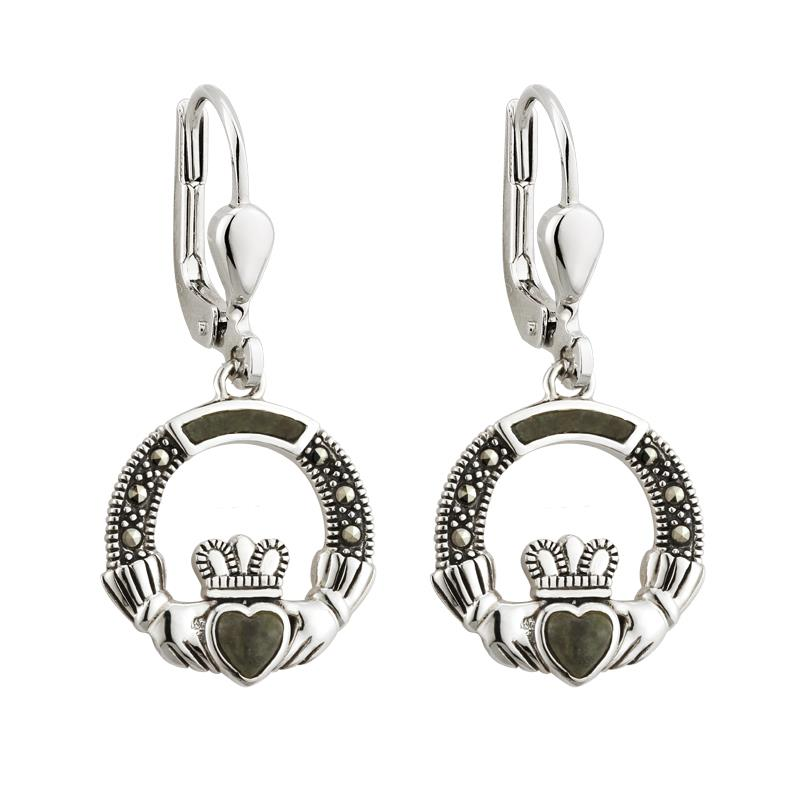 Marcasite and Marble Claddagh Drop Earrings
