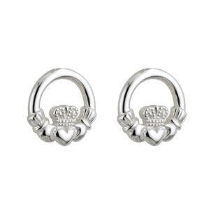 Children's Sterling Silver Claddagh Heart Stud Earrings