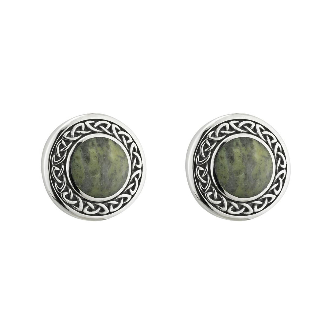 Solvar | Round Marble Celtic Stud Earrings