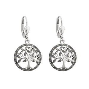 Solvar | Marcasite Tree of Life Drop Earrings