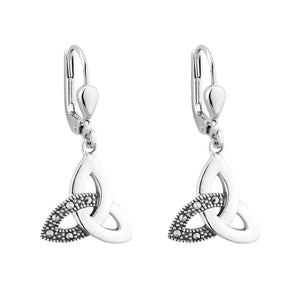 Solvar | Marcasite Trinity Knot Drop Earrings