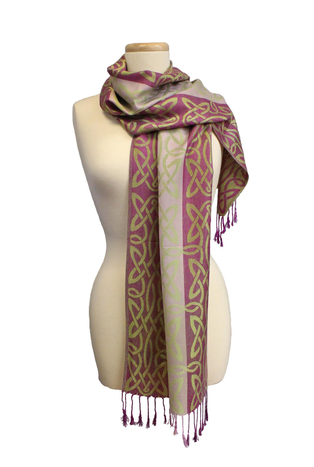 Celtic Weave Pashmina | Raspberry and Green