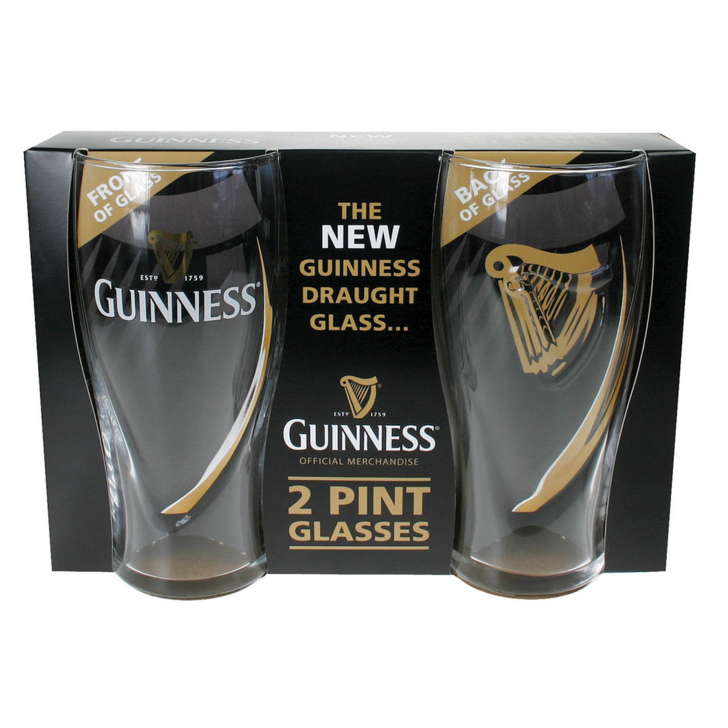 Guinness Embossed Pint Glasses | Two Pack