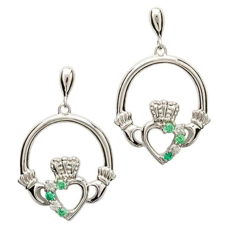 Shanore | Claddagh & Stone Sterling Silver Drop Earrings