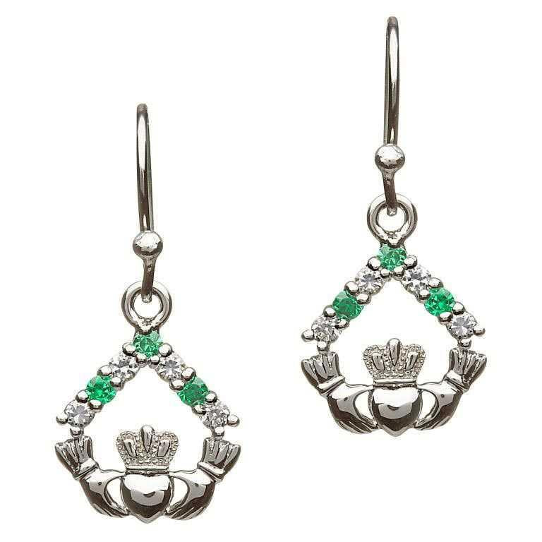 Claddagh & Stone Sterling Silver Drop Earrings
