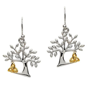 Tree of Life Trinity Knot Drop Earrings