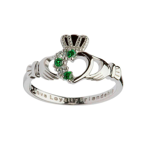 Claddagh Ring | Inlaid with Green and White Crystals
