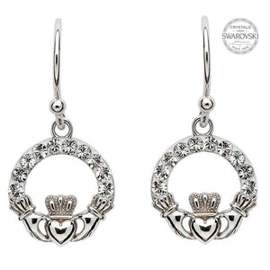 Claddagh Swarovski Drop Earrings
