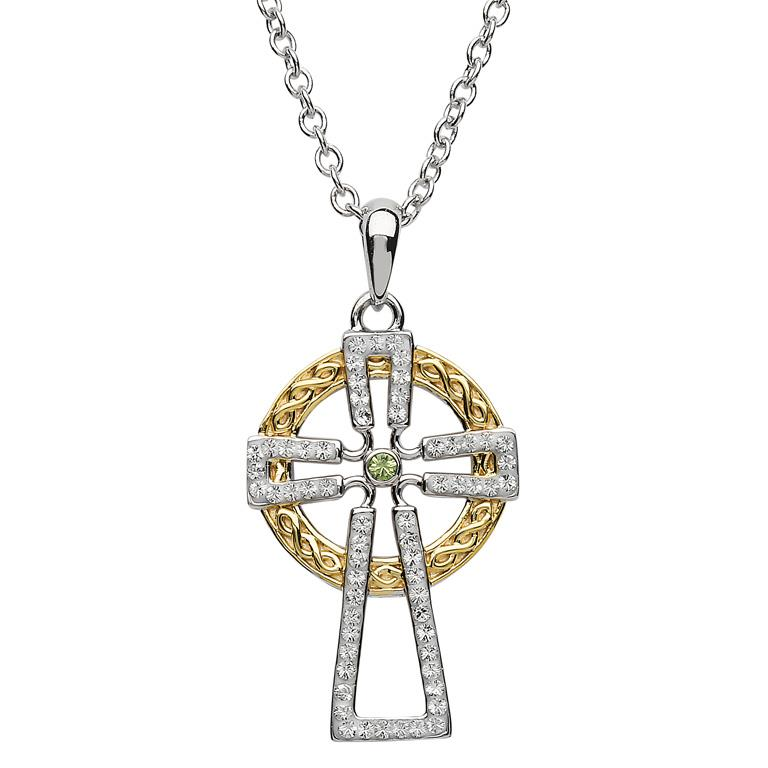 Celtic Cross Silver Pendant with Swarovski Crystals