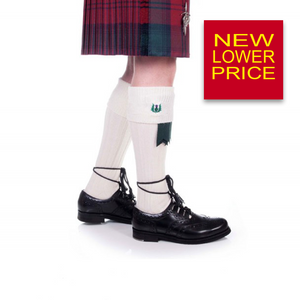 Kilt Hose | Embroidered Thistle Off White