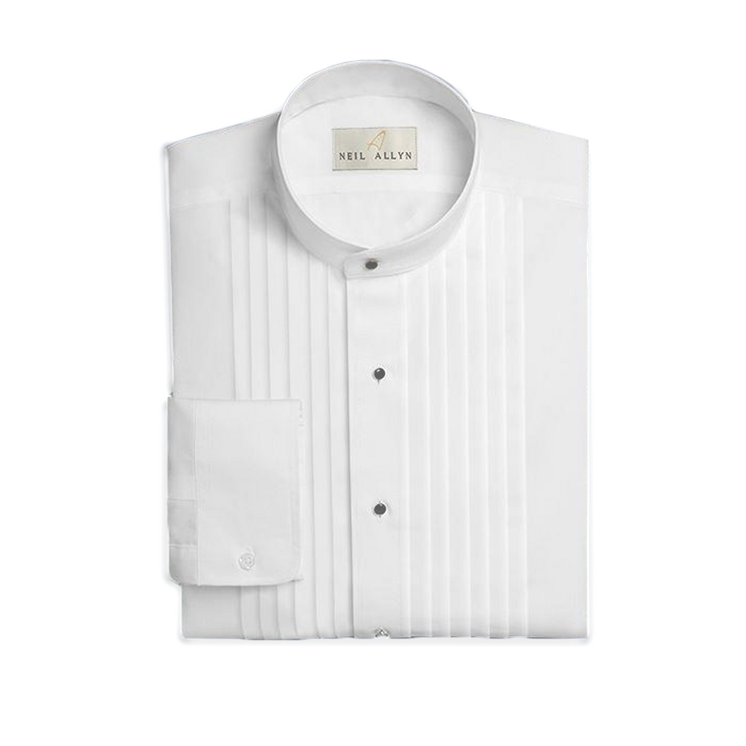Collarless Pleated Shirt