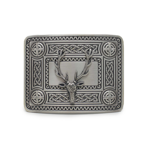 Belt Buckle | Celtic Knot and Stag Mount