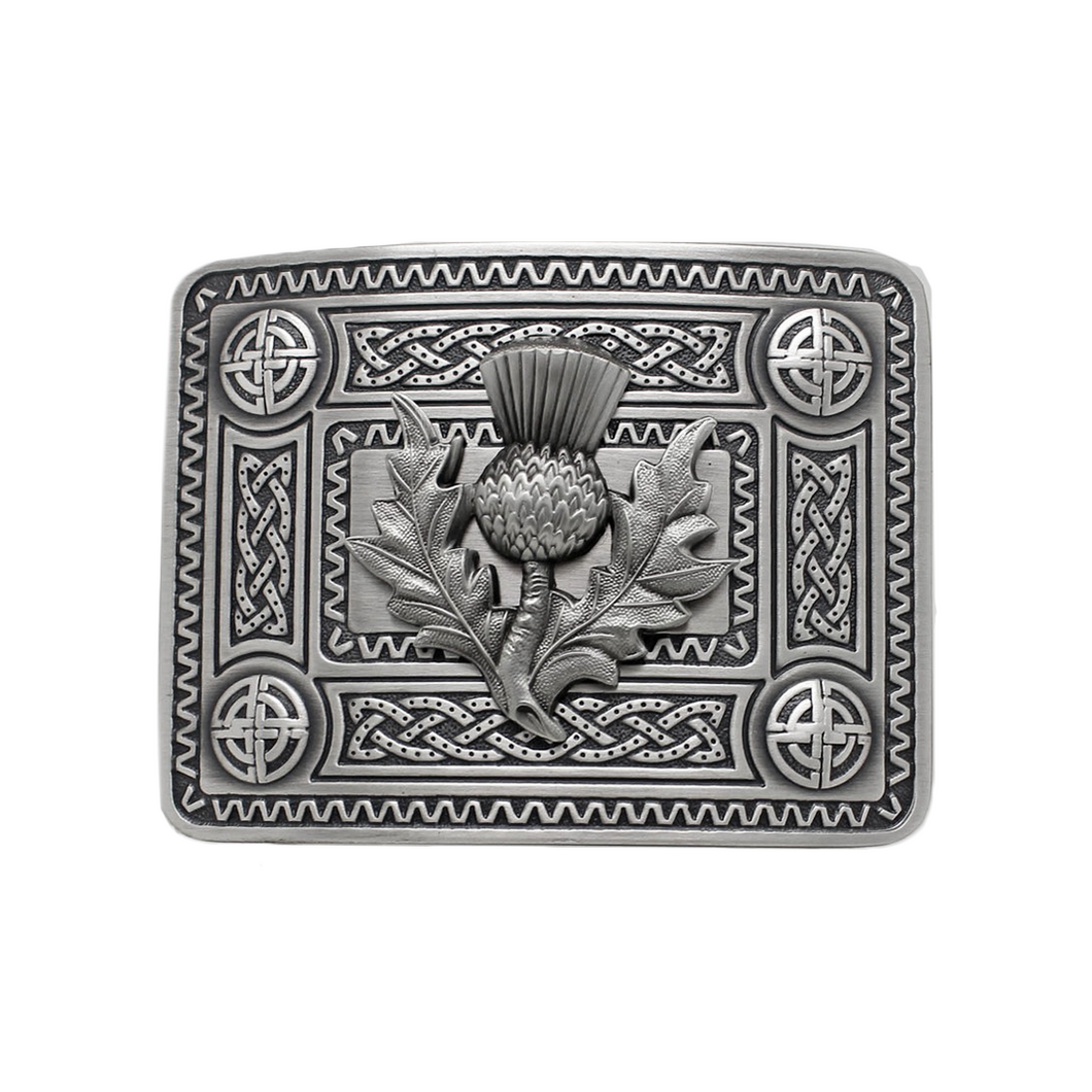Belt Buckle | Celtic Knot with Thistle Mount