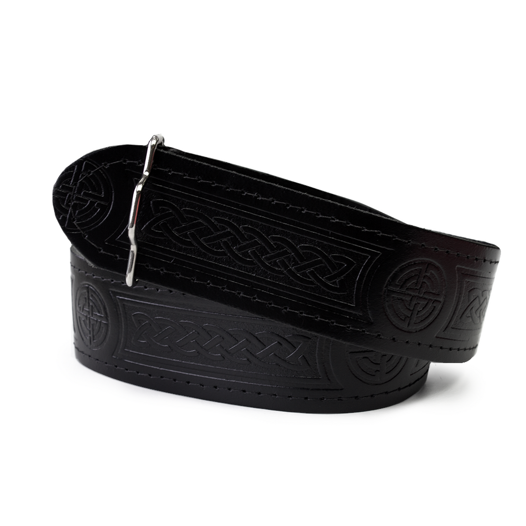 Kilt Belt | Black leather embossed with Celtic design