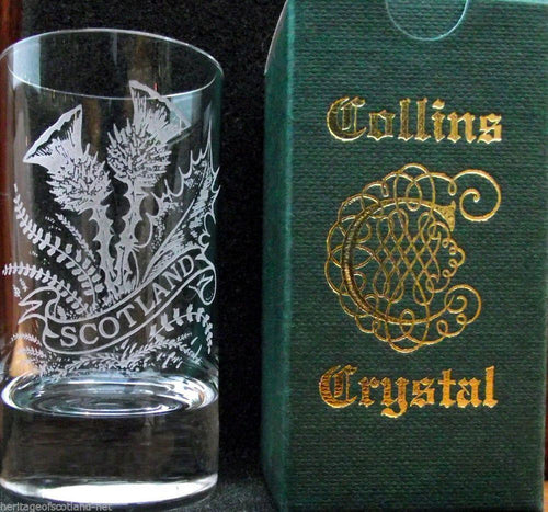 Collins Crystal Dram Glass | Scottish Thistle