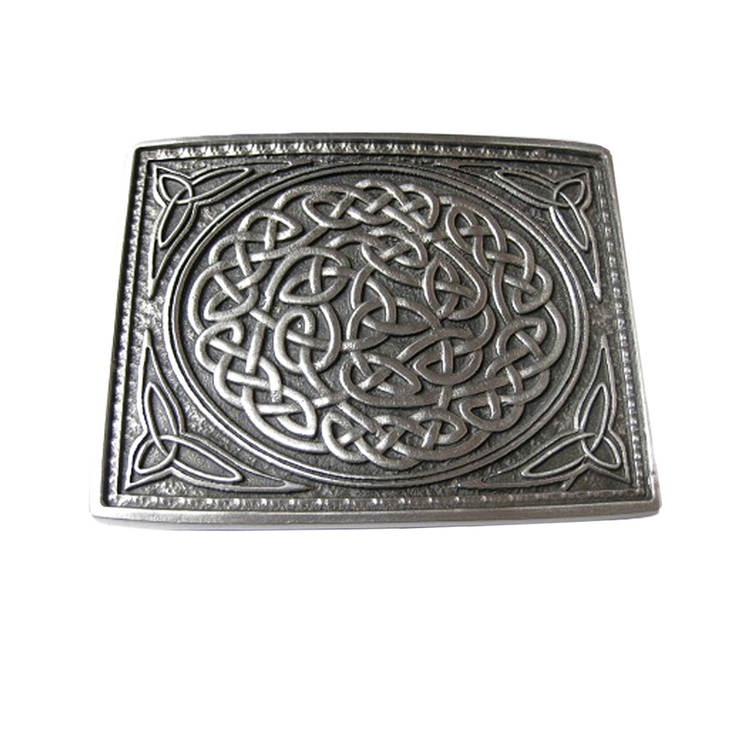 Belt Buckle | Matte Pewter Celtic Knot